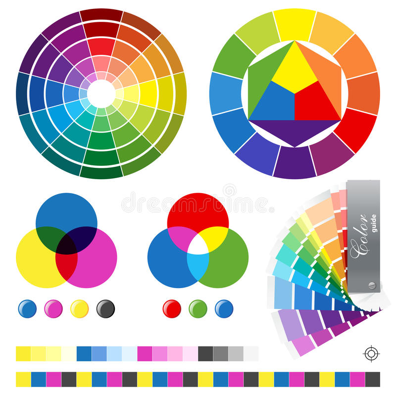 Color guides. Icons set - highly detailed illustration for your designs royalty free illustration