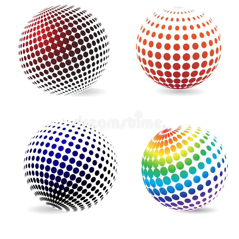 Color halftone circles . Three-dimensional color halftone circles with a shadow royalty free illustration
