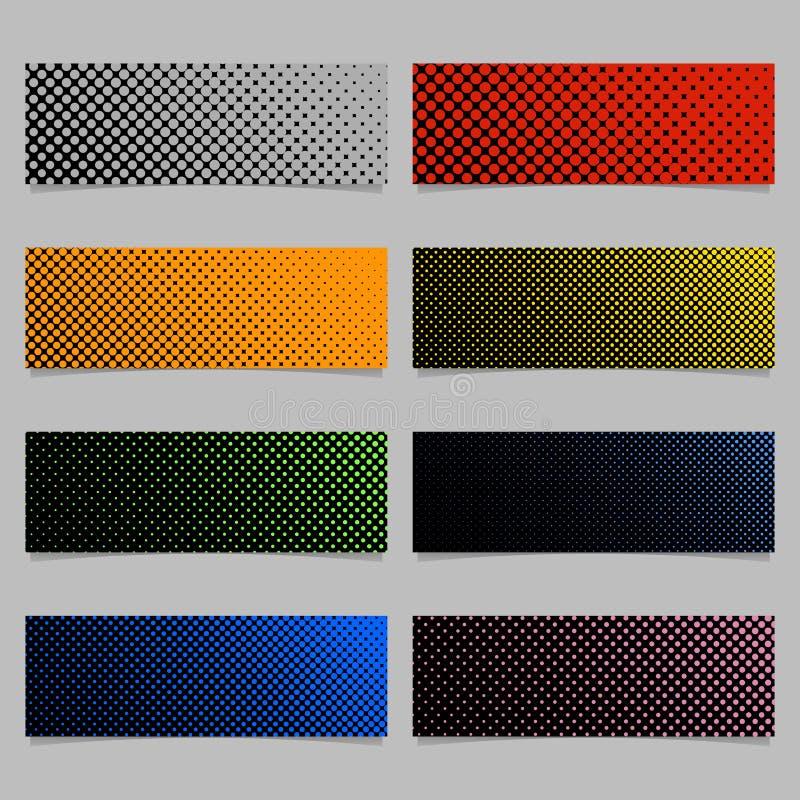 Color halftone dot pattern banner background template design set - horizontal rectangle vector illustrations stock illustration