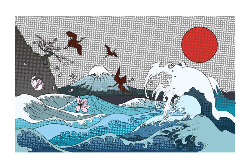 Color halftone Fuji mountain background.Hand drawn Japanese art Fuji mountain with heron bird and ocean wave. Red sun and dot background stock illustration