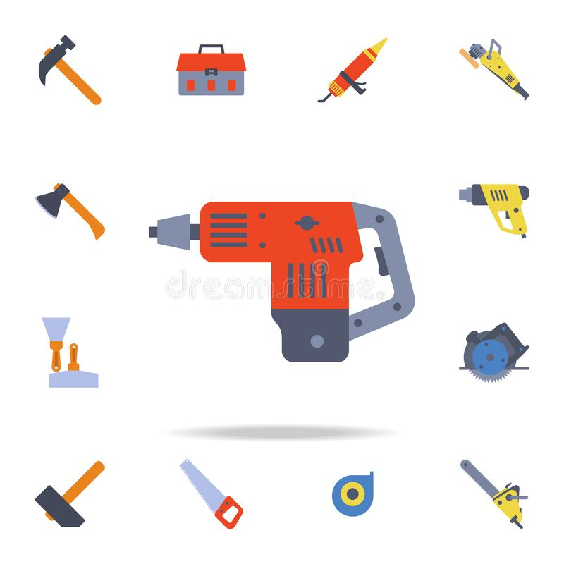 Color Hand Cordless Hammer Rock Drill icon. Detailed set of color construction tools. Premium graphic design. One of the. Collection icons for websites, web royalty free illustration