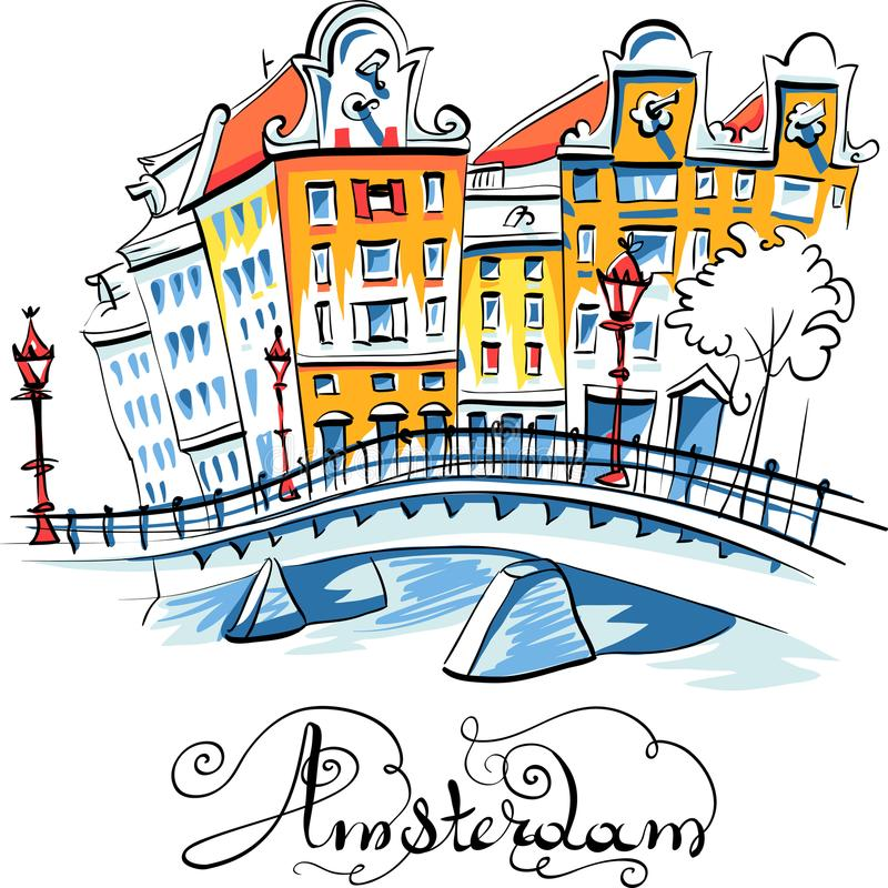 Vector city view of Amsterdam canal. Color hand drawing, city view of Amsterdam typical houses, Holland, Netherlands royalty free illustration