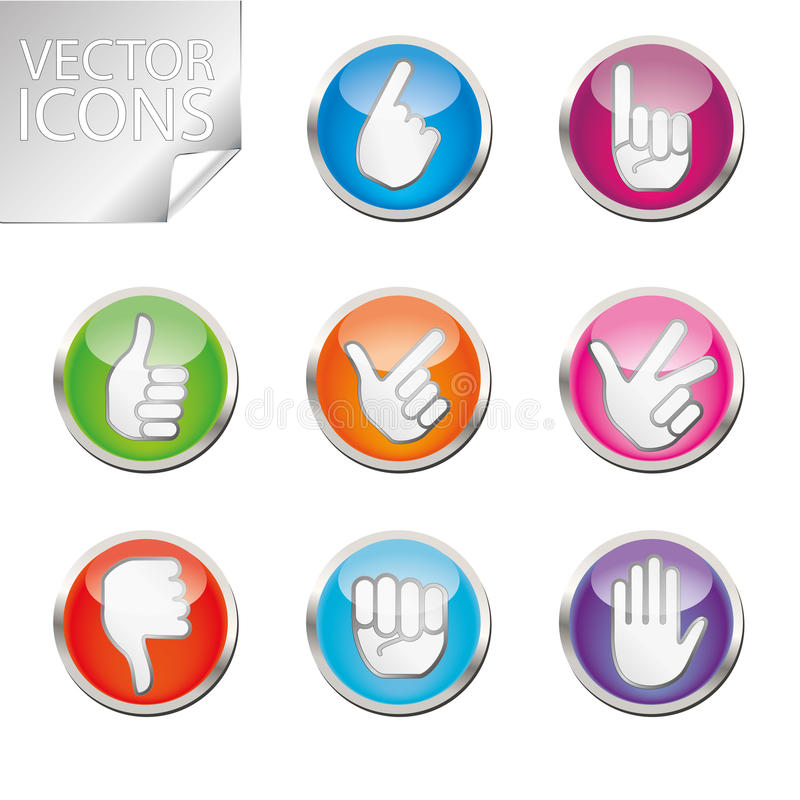 Color hand icon set royalty free illustration