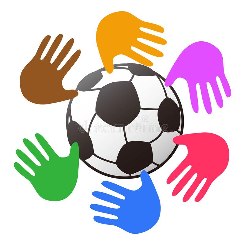 Color hands around soccer ball logo stock illustration