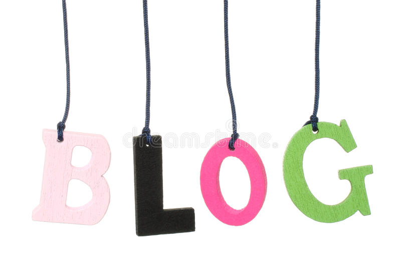 Color hanging wood blog letters. On white background royalty free stock image