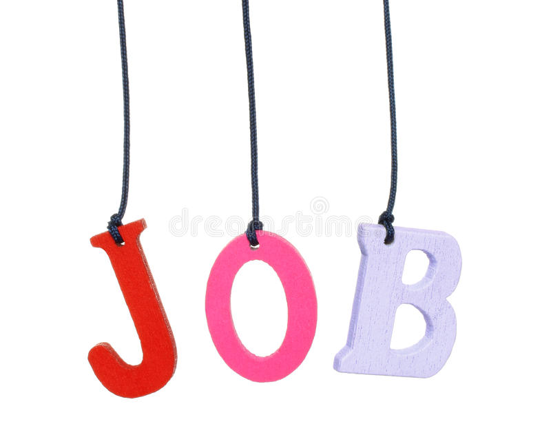 Color hanging wood job letters. On white background royalty free stock photo