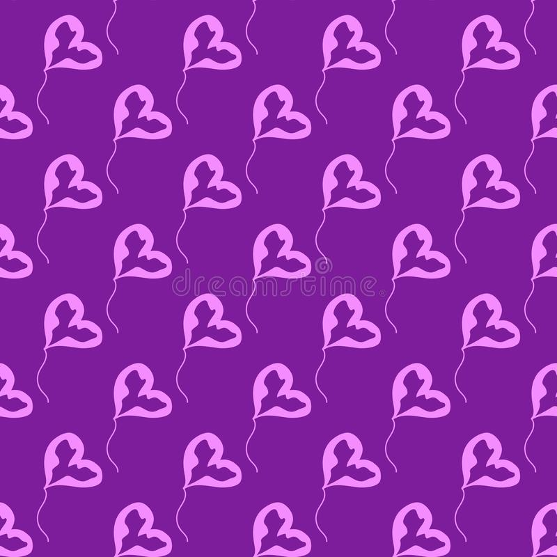 Color hearts ball on violet background. Color hearts balls seamless patternjn violet background. Vector illustration for design textile, wrapping paper, card stock illustration
