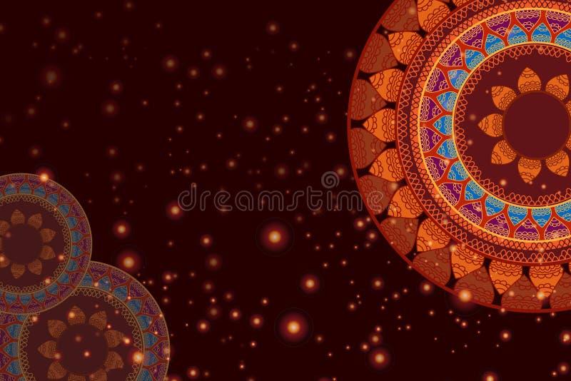Color Henna Mandala Background stock de ilustración