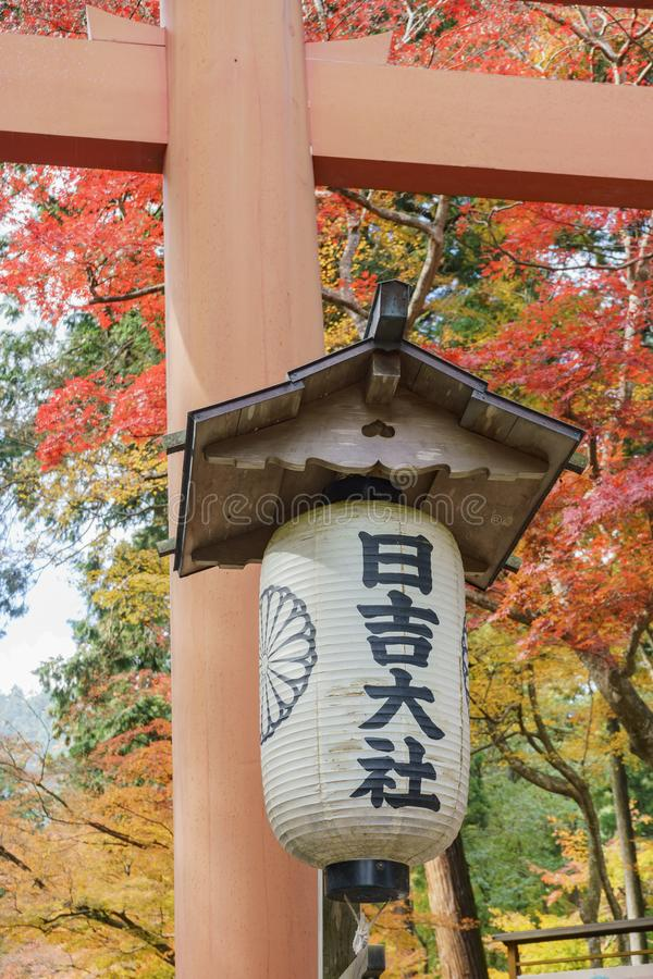 Color hermoso de la caída de Hiyoshi Taisha fotos de archivo