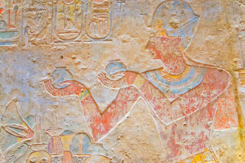 Color hieroglyphics in the temple of Kalabsha royalty free stock photo