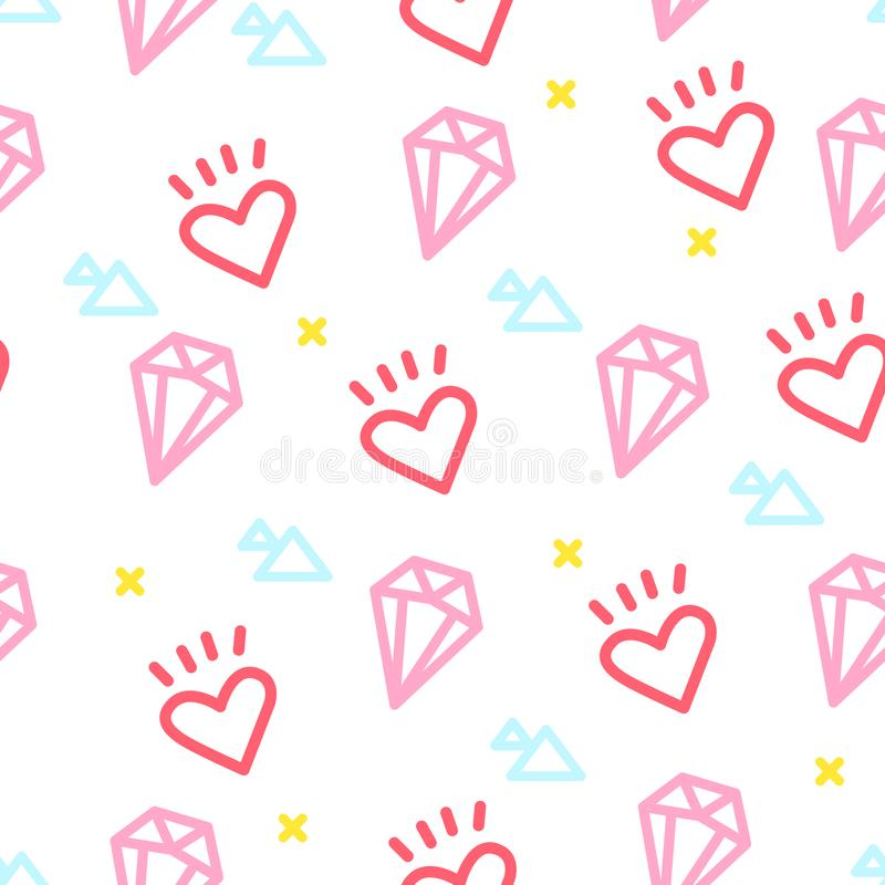 Color hipster pattern with heart, diamond and triangle on white background. Ornament for textile and wrapping. Vector vector illustration