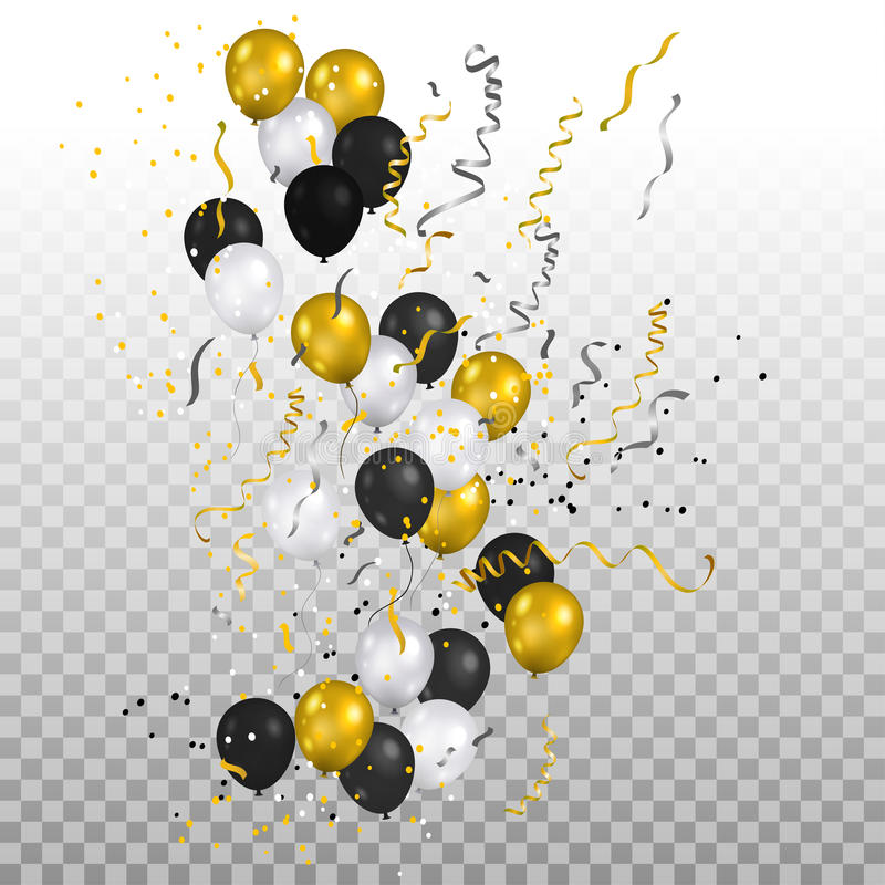 Festive gold balloons and confetti royalty free illustration