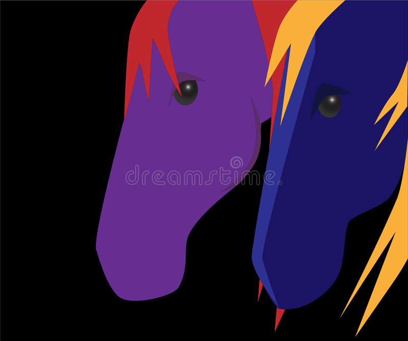 Color Horses On Black Stock Photo