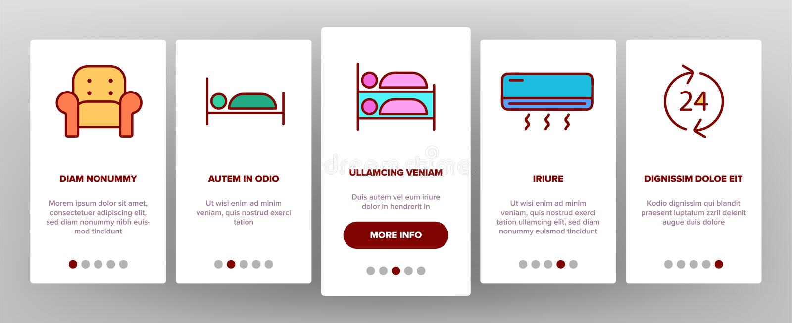 Color Hostel, Tourist Accommodation Vector Onboarding. Mobile App Page Screen. Hostel Facilities And Services. Outline Cliparts. Hotel Reservation Pictograms royalty free illustration
