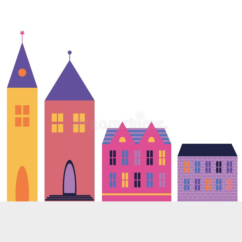 Free Color House And Tower In Cartoon Style. Isolated Houses. Beautiful Cartoon Colorful Banner. Architecture Concept. Stock Images - 184592594