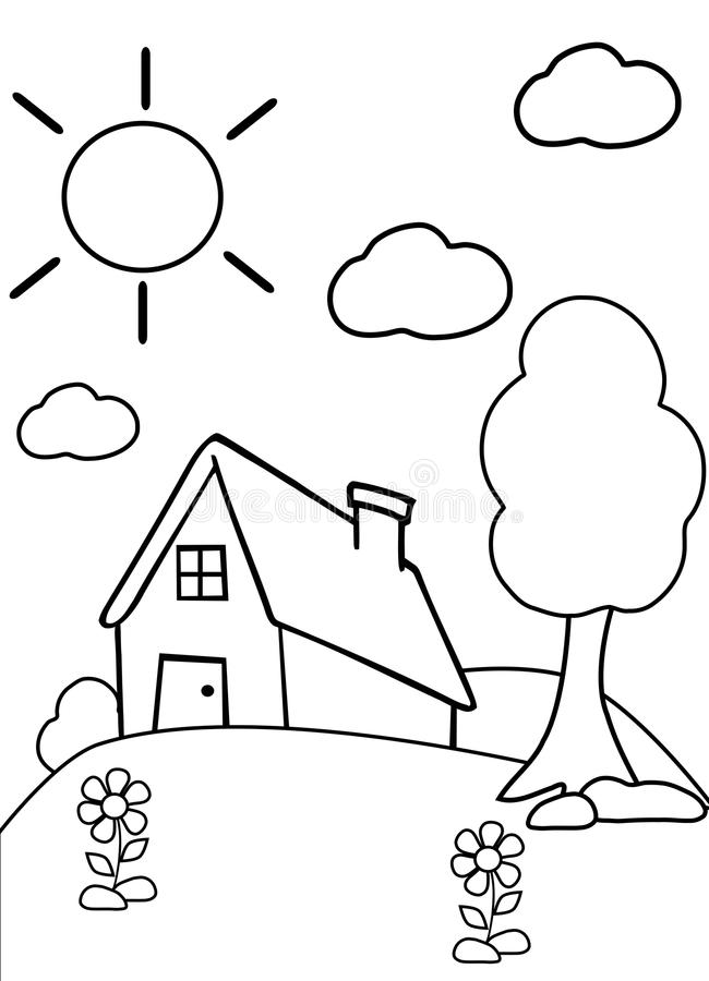 Color the house stock photo Illustration of garden black