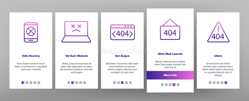 Color 404 HTTP Error Message Vector Onboarding. Mobile App Page Screen. 404 Page Not Found Outline Symbols Pack. Internet Connection Problem, Broken Link vector illustration