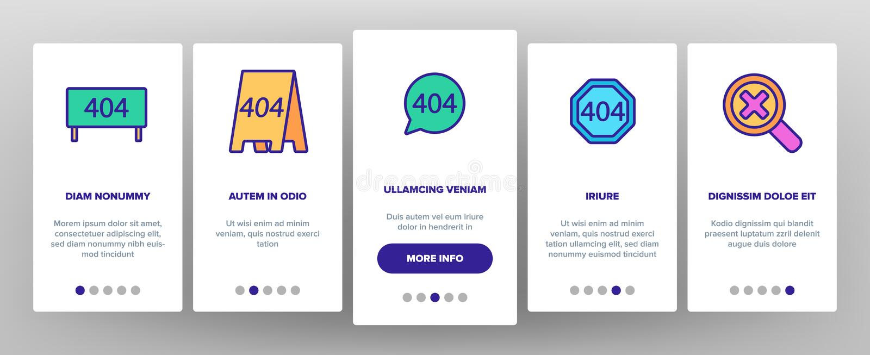 Color 404 HTTP Error Message Vector Onboarding. Mobile App Page Screen. 404 Page Not Found Outline Symbols Pack. Internet Connection Problem, Broken Link royalty free illustration