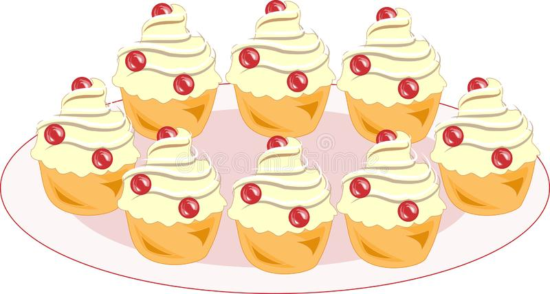 Color icon with a plate of tasty muffins. A cookie with a cream filling will decorate any festive table. A cake for tea and as a vector illustration