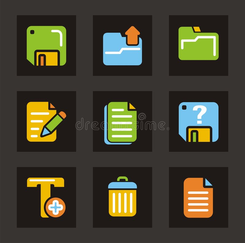 Color Icon Series - General Icons. A set of nine general icons, related to files, folders and text editing stock illustration