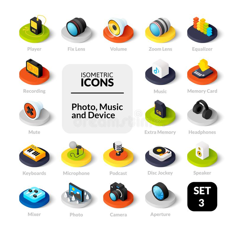 Color icons set in flat isometric illustration style, vector collection. Color icons set in flat isometric illustration style, vector symbols - Photo music and royalty free illustration