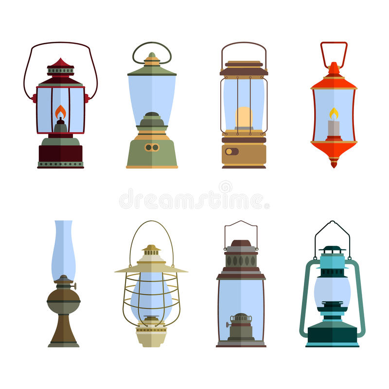 Color icons set with lantern royalty free illustration