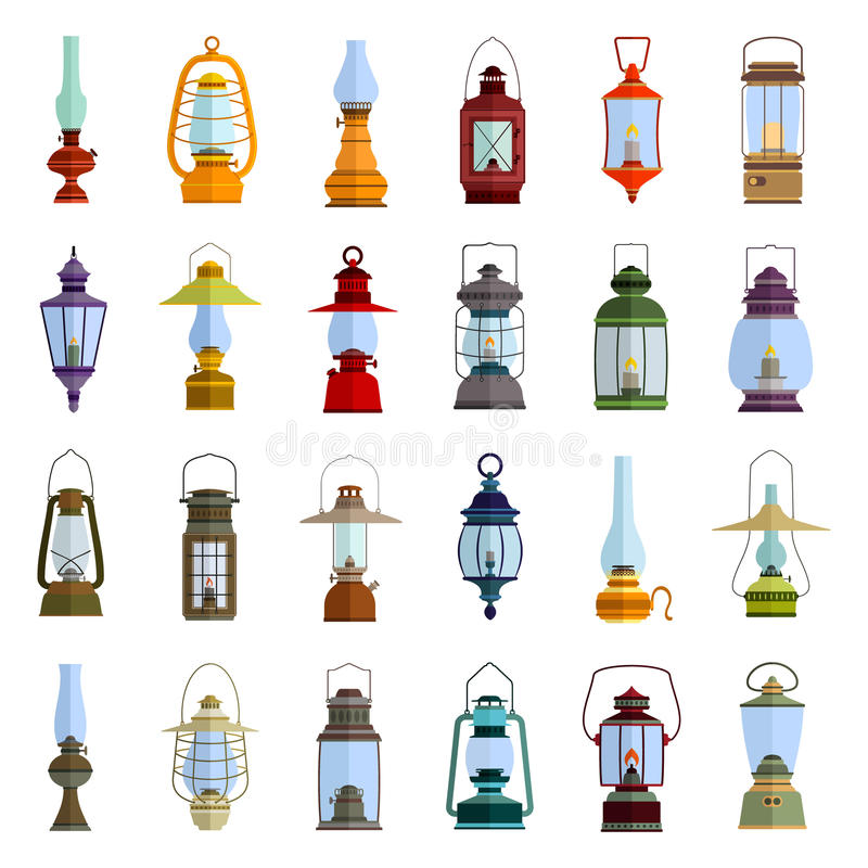Color icons set with lantern stock illustration