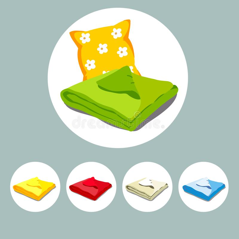 Color icons stacked bed linen or bedspread and pillow. vector illustration