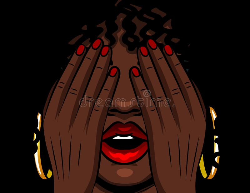 Color  illustration african american girl covers her face with her hands. The girl experiences emotions of stress, fear, pai stock illustration