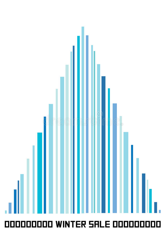 Color illustration of bar code christmas tree. Blue christmas illustration of bar code tree stock illustration
