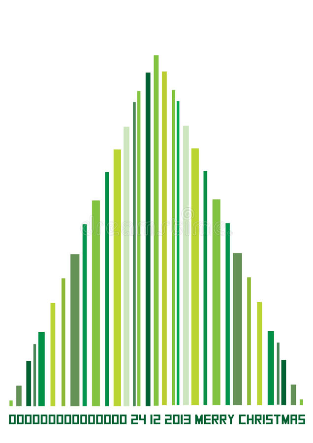 Color illustration of bar code christmas tree. Green christmas illustration of bar code tree vector illustration