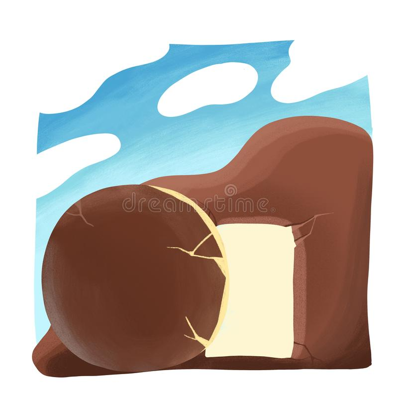 Color illustration about biblical story. Morning of Resurrection of Christ, The Open empty tomb. Color illustration about biblical story. Early morning of stock illustration