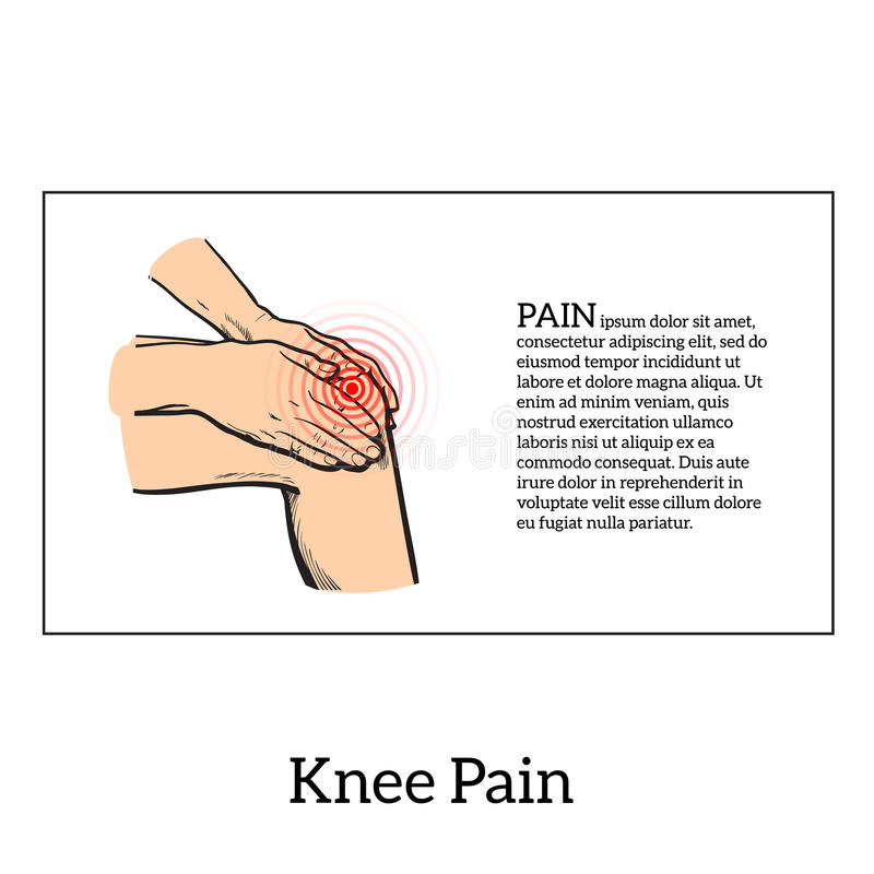 Color illustration of knee pain. Hands holding leg. Painted knee pain. Discomfort in a joint leg. Symptoms of motor functions in humans. It is difficult to walk royalty free illustration