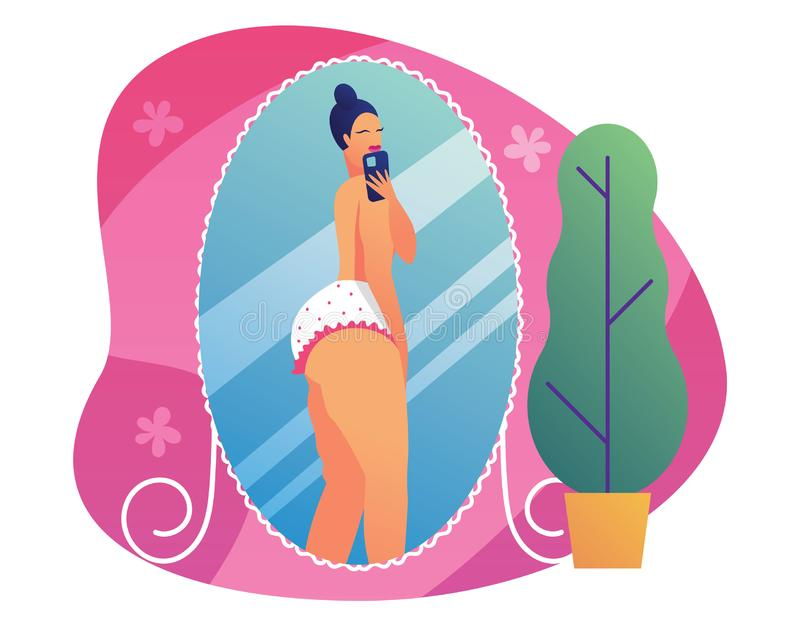 Color illustration of a pompous girl making selfie. Concept poster about body positive. Plus size girl takes pictures of he stock illustration