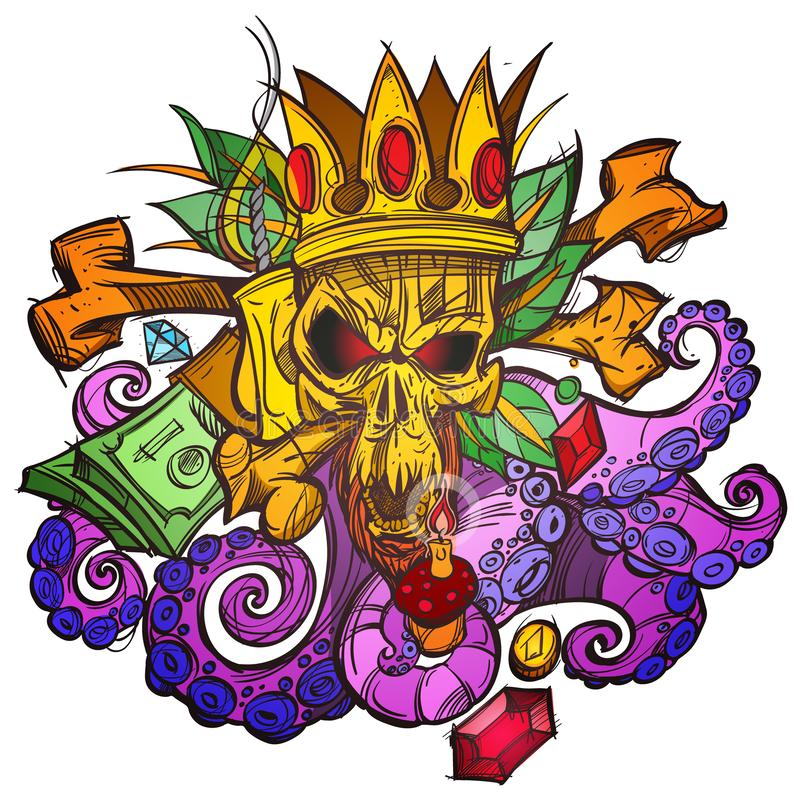 Color illustration with a skull in the crown, money and leaves. A sketch of a tattoo vector illustration