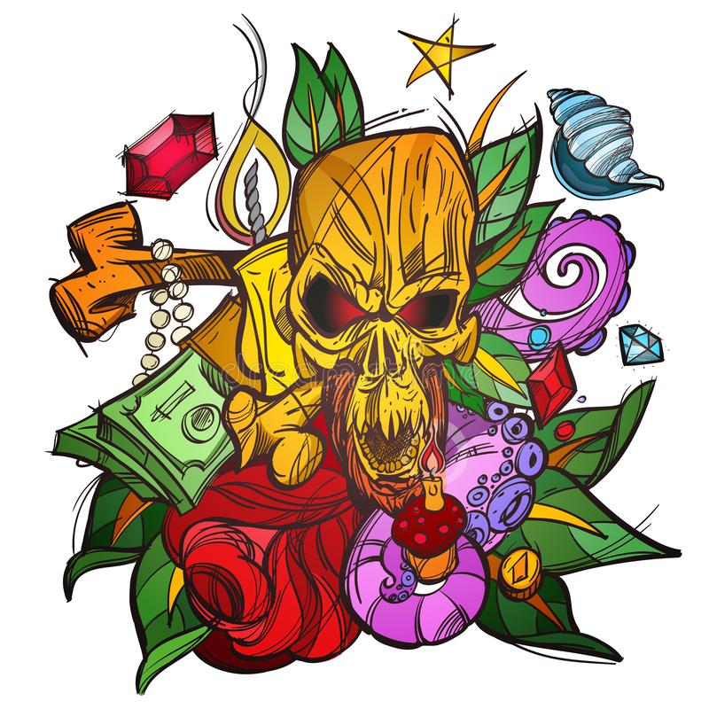 Color illustration with a skull, money and leaves. A sketch of a tattoo stock illustration