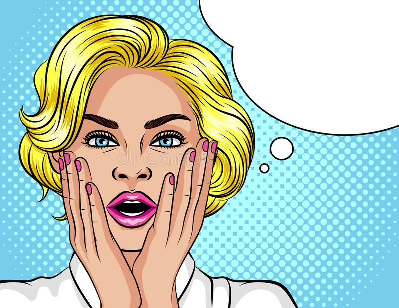 Color illustration in the style of pop art. The blonde girl opened her mouth in surprise. Beautiful woman in shock. The gir. L holds her hands near the face. Wow royalty free illustration