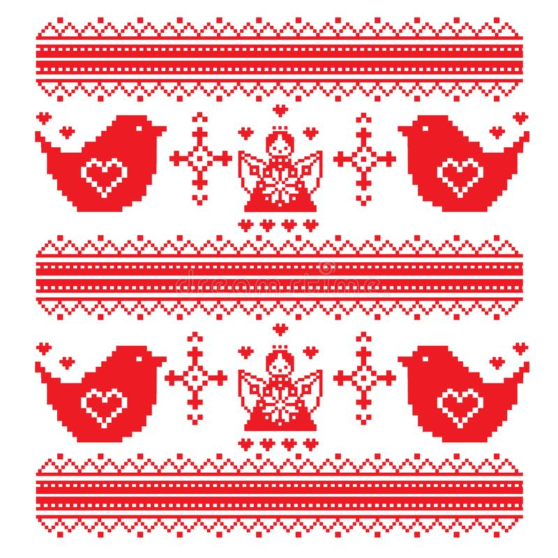 Color image of birds chickadee or a sparrow using traditional Ukrainian embroidery elements. Can be used as pixel-art. Vector illustration vector illustration
