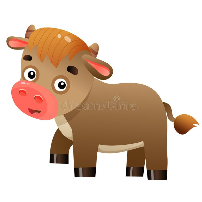 Color image of cartoon calf or kid of cow on white background. Farm animals. Vector illustration for kids stock illustration