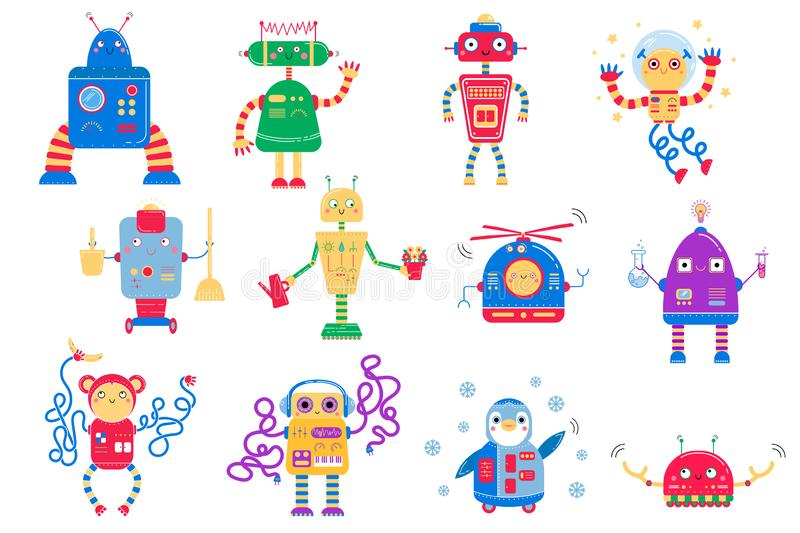 Color image of cute cartoon robots. Vector set for kids stock photography