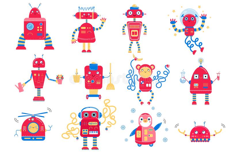 Color image of cute red cartoon robots. Monochrome vector set for kids royalty free stock photos