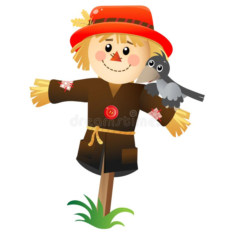 Free Color Image Of Cartoon Stuffed Or Scarecrow With Crow On White Background. Vegetable Garden. Vector Illustration For Kids Stock Images - 165449684