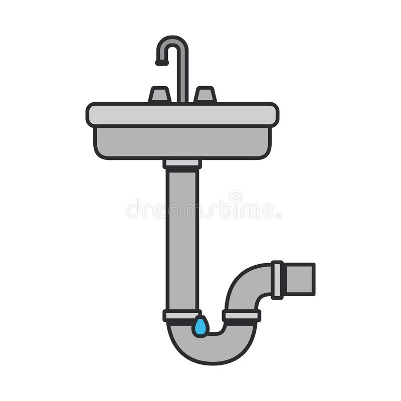 Color image of washbasin and drain pipe royalty free illustration