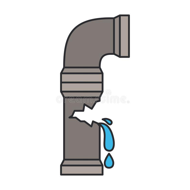 Color image of water pipe broken. Vector illustration royalty free illustration