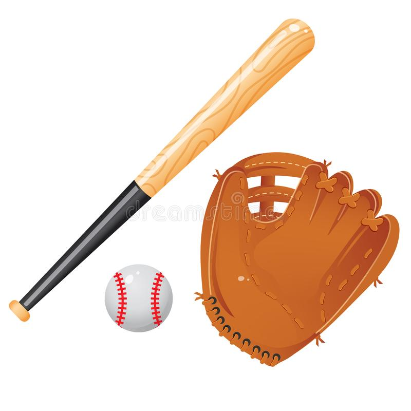 Color images of baseball bat, of ball and of catcher`s mitt or glove on white background. Sports equipment. Vector illustration vector illustration