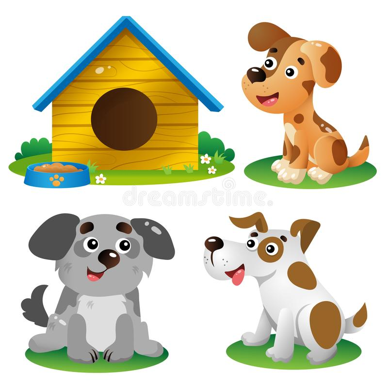 Color images of cartoon dogs on white background. Pets. Vector illustration set for kids royalty free illustration