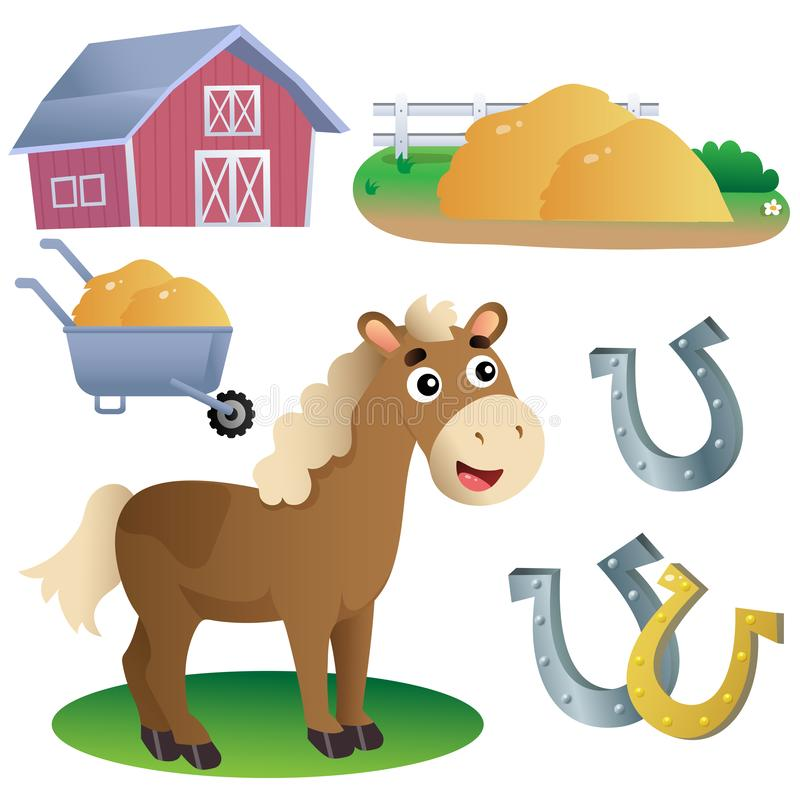 Color images of cartoon horse with horseshoes, of barn and hay on white background. Farm animals. Vector illustration set for kids stock illustration