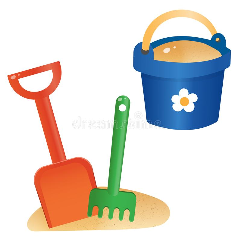 Free Color Images Of Children`s Toy Shovel With Bucket On White Background. Outdoors Games In Sandbox. Vector Illustration Set Stock Photos - 164768023