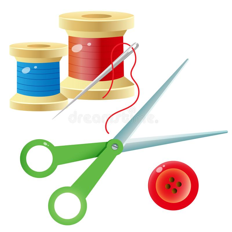 Free Color Images Of Spools Of Thread With Needle, Scissors And Red Button On A White Background. Set For Sewing. Vector Illustration Royalty Free Stock Photography - 164282337