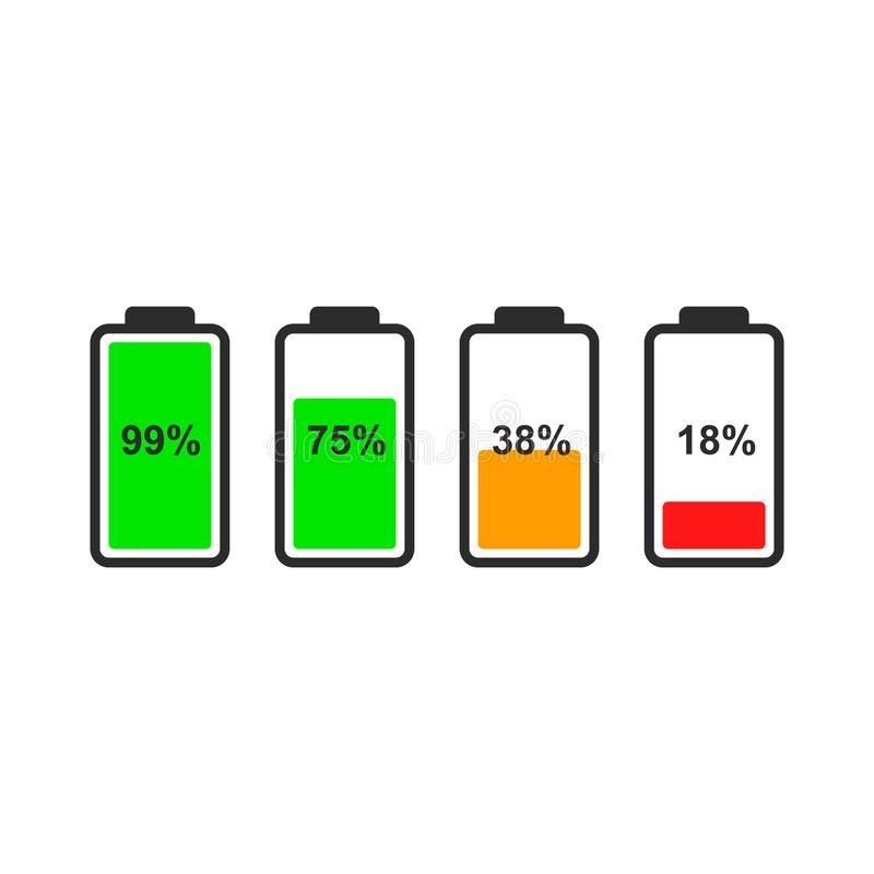 Set of battery level indicator icons. Color indicators of the battery level for the design of the interface of smartphone, tablet and other devices. Battery stock illustration
